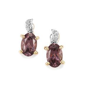 Mahenge Purple Spinel & Diamond 10K Gold Earrings ATGW 1cts