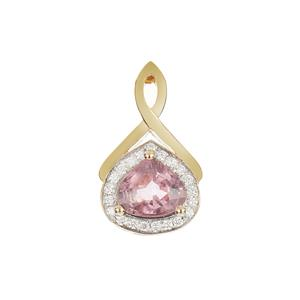 Padparadscha Sapphire Pendant with Diamond in 18K Gold 1.15cts