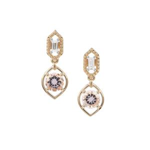 Nigerian Morganite Earrings with White Zircon in 9K Gold 1.84cts