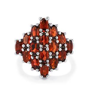 5ct Red Garnet Sterling Silver Ring