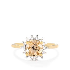 Rose Danburite & White Zircon 10K Gold Ring ATGW 1.57cts