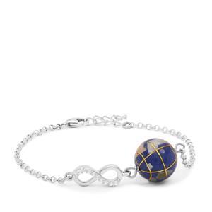 Atlas Globe White Zircon Sterling Silver Bracelet