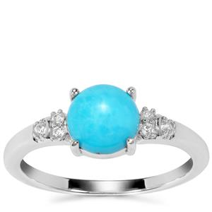 Sleeping Beauty Turquoise Ring with White Zircon in Sterling Silver 1.20cts