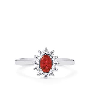 Cruzeiro Rubellite Ring with White Topaz in Sterling Silver 0.78cts
