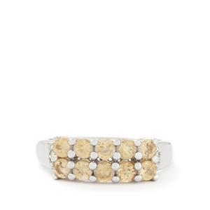 Imperial Garnet & Diamond Sterling Silver Ring ATGW 1.45cts