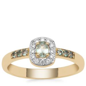 Alexandrite Ring with White Zircon in 9K Gold 0.47ct