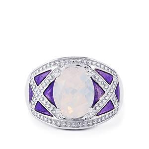 3.36ct Rio Grande Lavender Quartz Sterling Silver Enamel Ring