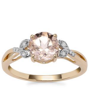 Alto Ligonha Morganite Ring with Diamond in 9K Gold 1.13cts