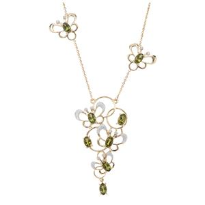 Chrome Tourmaline Necklace with White Zircon in 9K Gold 1.88cts