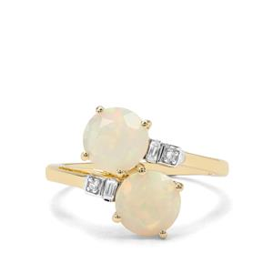 Ethiopian Opal & White Zircon 9K Gold Ring ATGW 1.58cts