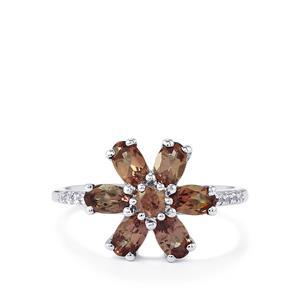 Bekily Colour Change Garnet & White Zircon 9K White Gold Ring ATGW 2.10cts