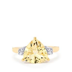Serenite & White Zircon 9K Gold Ring ATGW 3cts