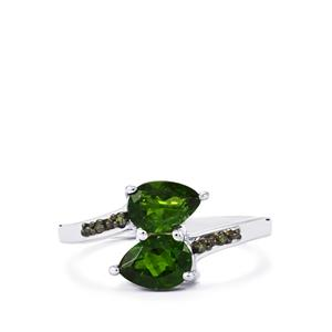 Chrome Diopside Ring with Green Diamond in Sterling Silver 1.60cts