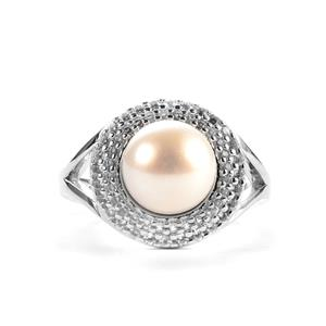 Kaori Cultured Pearl & White Topaz Sterling Silver Ring (8.50mm)