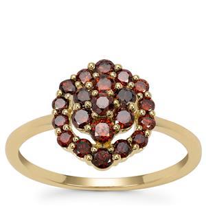Red Diamond Ring  in 9K Gold 0.83ct