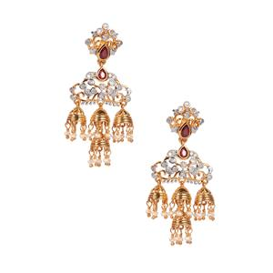 Montepuez Ruby, Kaori Cultured Pearl Earrings with Diamond in Gold Plated Sterling Silver