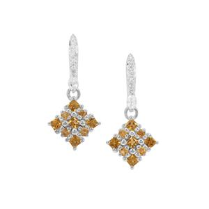 Yellow Tourmaline, Diamantina Citrine Earrings with White Zircon in Sterling Silver 0.92ct