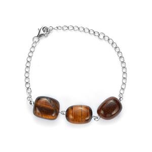 Yellow Tiger's Eye Bracelet in Sterling Silver 62.40cts