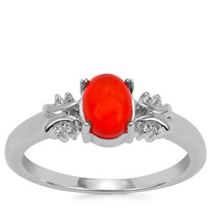 Ethiopian Red Opal Ring with White Zircon in Sterling Silver 0.57cts