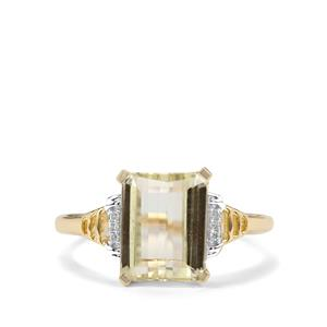 Minas Novas Hiddenite & Diamond 10K Gold Ring ATGW 3.87cts