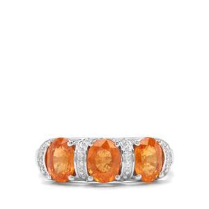 Mandarin Garnet & White Zircon Sterling Silver Ring ATGW 3.52cts