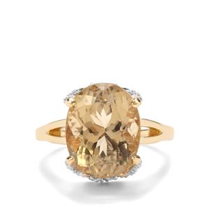 Scapolite Ring with Diamond in 18K Gold 7.64cts