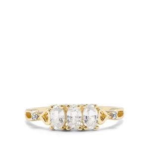 Leuco Sapphire & White Zircon 9K Gold Ring ATGW 0.95ct