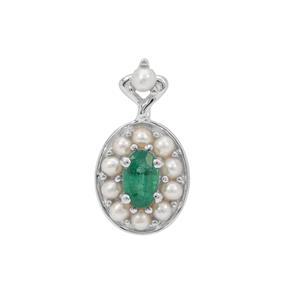Zambian Emerald Pendant with Kaori Cultured Pearl in Sterling Silver
