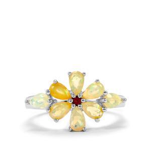 Ethiopian Opal & Thai Ruby Sterling Silver Ring ATGW 1.17cts
