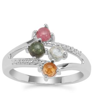Rainbow Tourmaline Ring in Sterling Silver 0.88ct