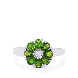 Chrome Diopside Ring with White Zircon in Sterling Silver 1.33cts