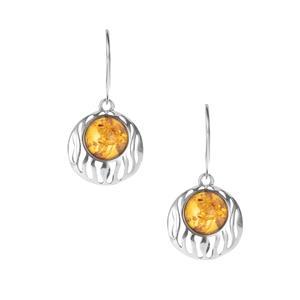 Baltic Cognac Amber Earrings in Sterling Silver (9.50mm)