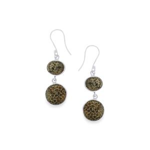 17.60ct Fossil Black Coral Sterling Silver Aryonna Earrings