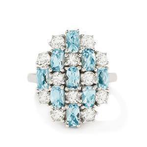 Swiss Blue Topaz & White Topaz Sterling Silver Ring 4.56ct