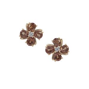 Tsivory Colour Change Garnet Earrings with White Zircon in 9K Gold 2.86cts