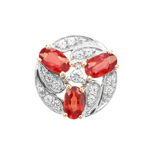 Songea Ruby Pendant with White Zircon in 9K Gold 1.14cts