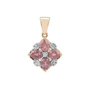 Padparadscha Sapphire Pendant with Diamond in 9K Gold 1.24cts