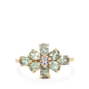 Alexandrite & White Zircon 9K Gold Ring ATGW 1.58cts
