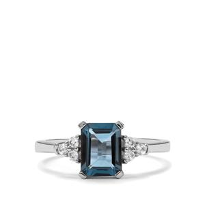 Marambaia London Blue Topaz Ring with White Zircon in Sterling Silver 1.81cts