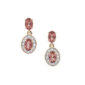 Rosé Apatite Earrings with White Zircon in 9K Gold 2.35cts