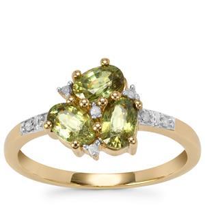 Ambanja Demantoid Garnet Ring with Diamond in 9K Gold 1.53cts