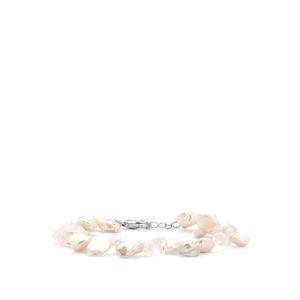 Rose Quartz Bracelet with Baroque Cultured Pearl in Rhodium Plated Sterling Silver