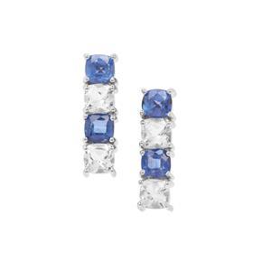 Nilamani & White Topaz Sterling Silver Earrings ATGW 3.18cts