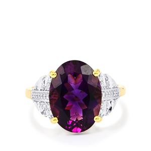 Moroccan Amethyst Ring with Diamond in 18k Gold 5.24cts