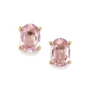 1ct Sakaraha Pink Sapphire 10K Gold Earrings