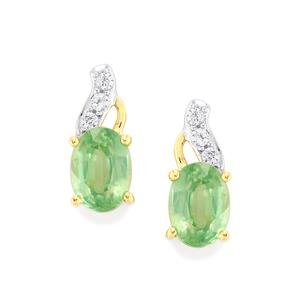 Odisha Kyanite & White Zircon 9K Gold Earrings ATGW 2.09cts