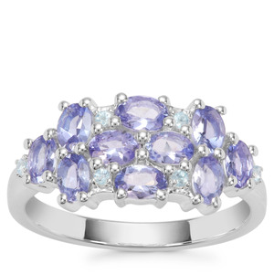 Tanzanite Ring with Swiss Blue Topaz in Sterling Silver 1.82cts