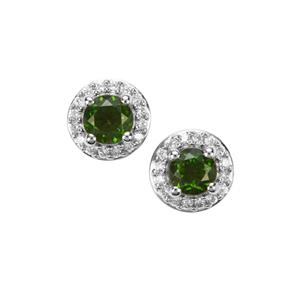 Chrome Diopside Earrings with White Zircon in Platinum Plated Sterling Silver 1.56cts