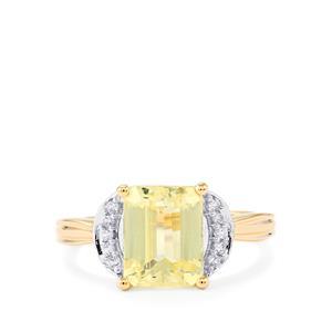 Canary Kunzite & White Zircon 10K Gold Ring ATGW 3.12cts