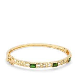 Chrome Diopside Bangle with White Zircon in Gold Plated Sterling Silver 1.86cts